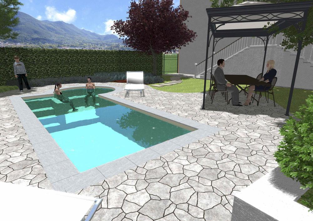 Giardini Moderni Con Piscina : Ti piace lo stile di questo giardino con piscina